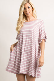 Lavender Striped Layered Flounce Sleeve Swing Dress