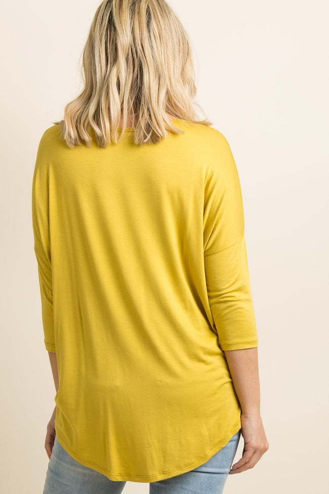 Yellow Crisscross Front Dolman Sleeve Maternity Top