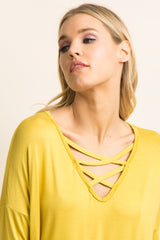 Yellow Crisscross Front Dolman Sleeve Top