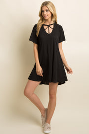Black Solid Cutout Strappy Front Shift Dress