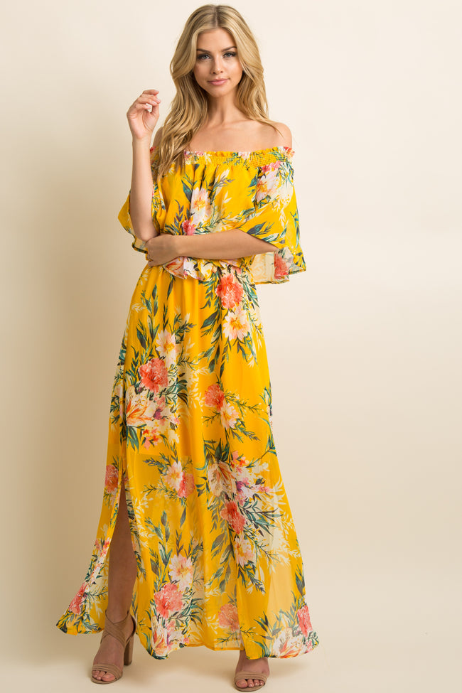 Yellow Floral Chiffon Off Shoulder Ruffle Maternity Maxi Dress