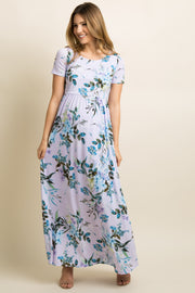Lavender Floral Short Sleeve Maternity Maxi Dress