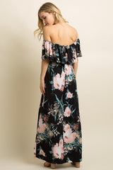 Black Floral Ruffle Off Shoulder Maxi Dress