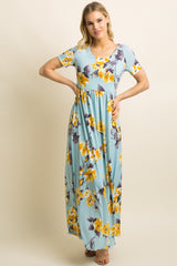 Mint Green Floral Print Short Sleeve Maternity Maxi Dress
