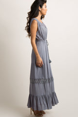 Grey Crochet Accent Tassel Tie Maxi Dress