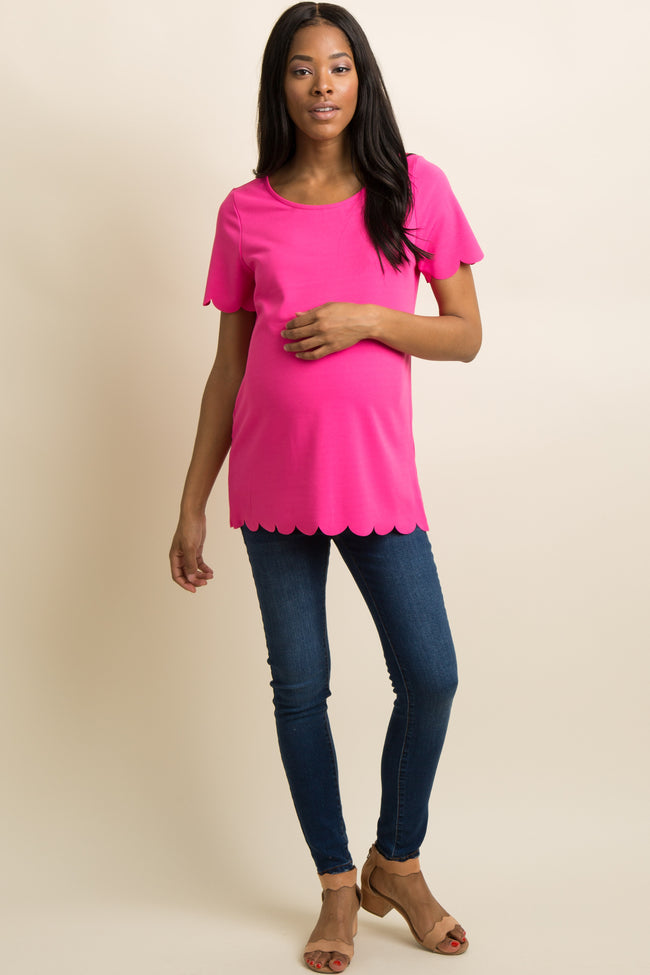 Neon Pink Scalloped Trim Maternity Top