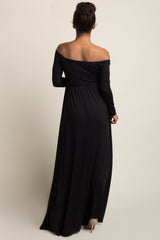 PinkBlush Tall Black Solid Off Shoulder Maternity Maxi Dress