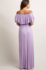 Lavender Off Shoulder Ruffle Trim Maternity Maxi Dress