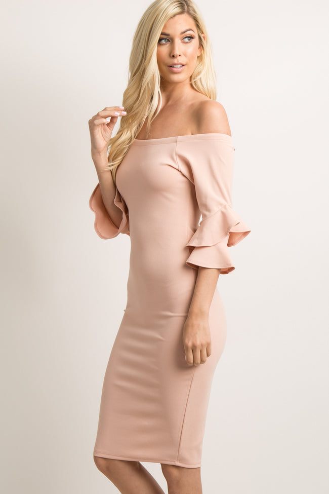 PinkBlush Pink Layered Flounce Sleeve Fitted Dress