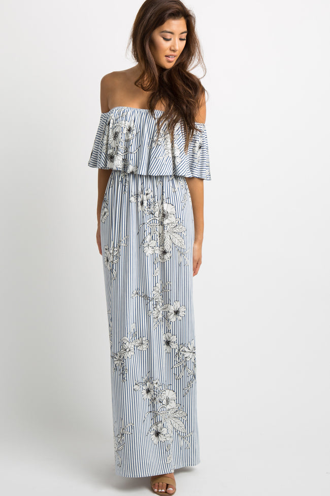 Navy Striped Floral Print Ruffle Off Shoulder Maternity Maxi Dress