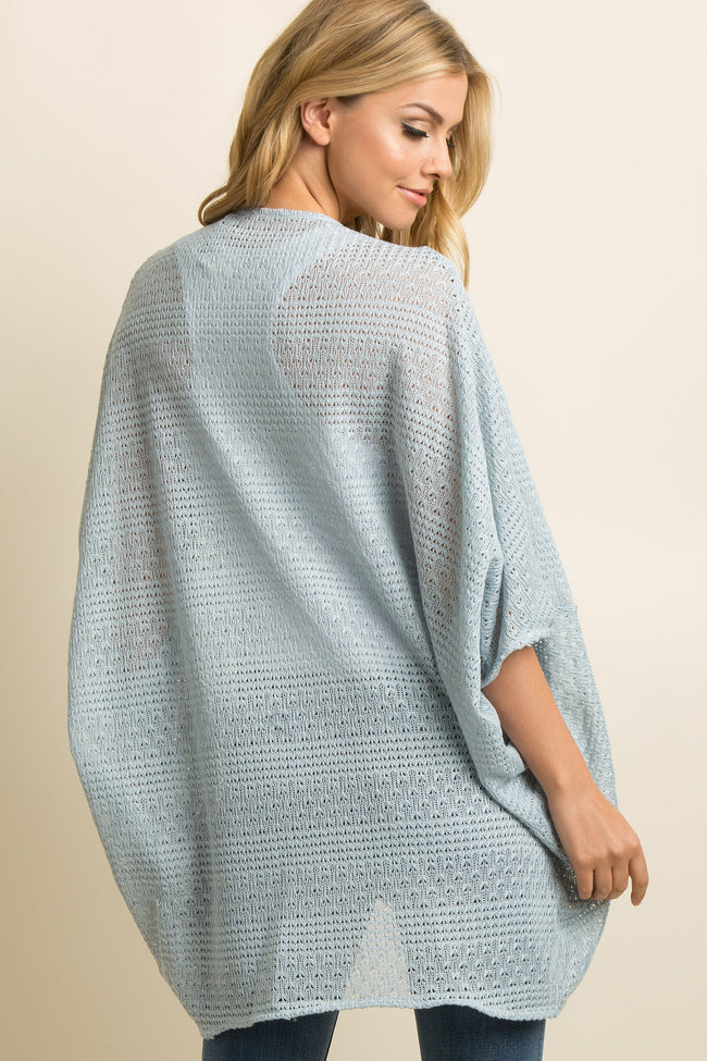 Light Blue Open Knit Dolman Sleeve Cardigan