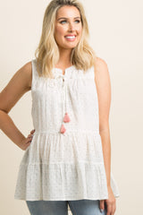 Light Pink Polka Dot Tassel Tie Tiered Maternity Top