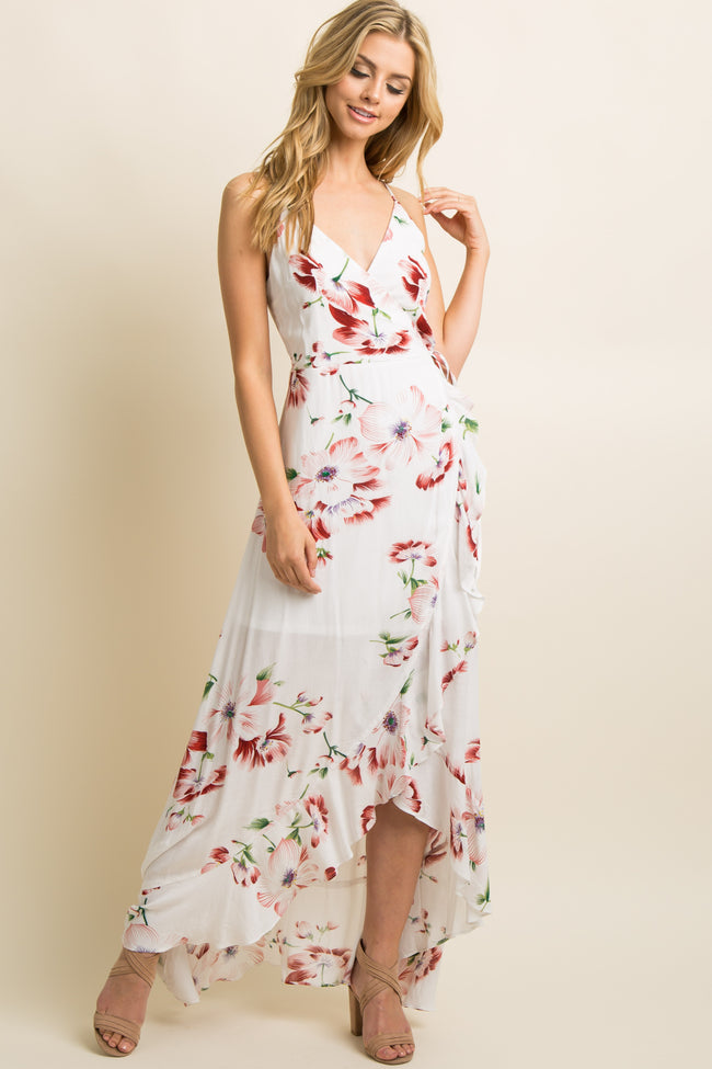 White Floral Ruffle Trim Hi-Low Wrap Tie Dress
