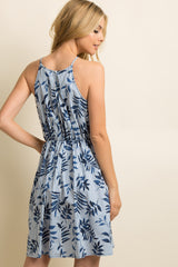 Navy Blue Leaf Print Striped Tie Front Dress