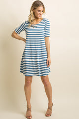Blue Striped Cutout Back Shift Dress