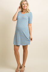 Blue Striped Cutout Back Maternity Shift Dress