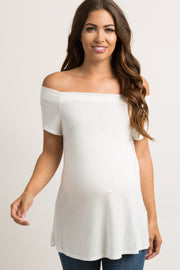 White Off Shoulder Short Sleeve Maternity Top