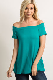 Emerald Green Off Shoulder Short Sleeve Top