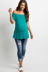 Emerald Green Off Shoulder Short Sleeve Maternity Top