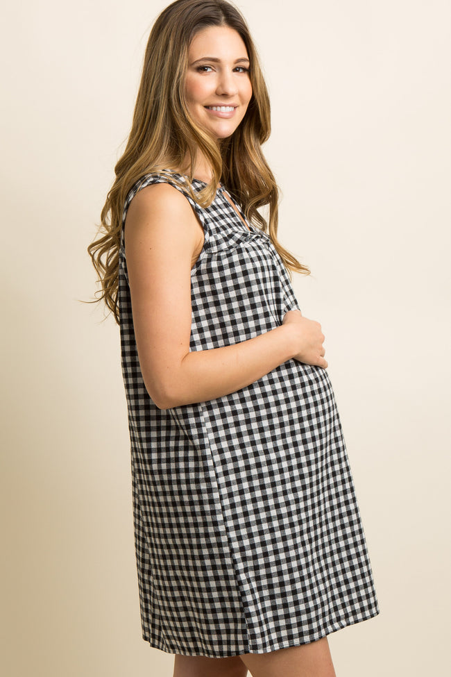 Black Gingham Print Cutout Ruffle Trim Maternity Dress