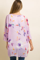 Lavender Floral Chiffon Bell Sleeve Maternity Kimono