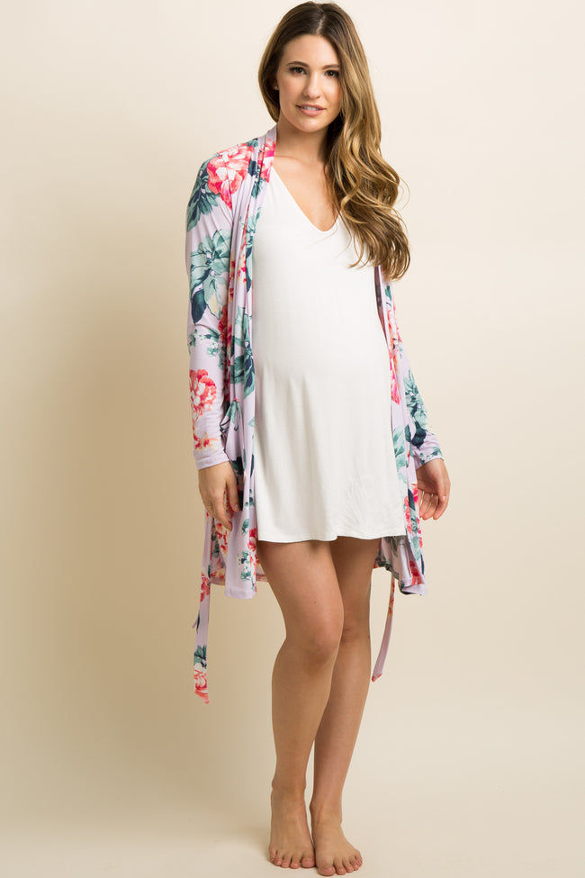 Lavender Floral Pocket Front Delivery/Nursing Maternity Robe