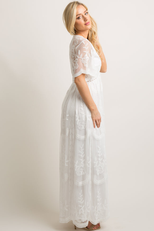 PinkBlush White Lace Mesh Overlay Maxi Dress