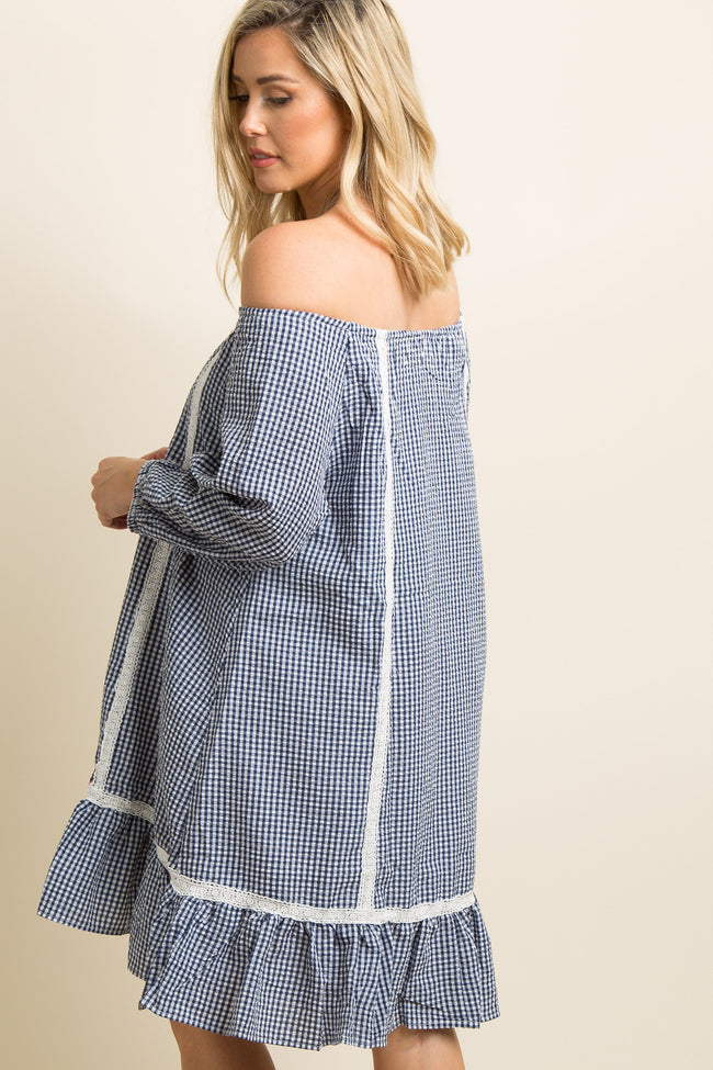 Blue Gingham Print Crochet Off Shoulder Dress