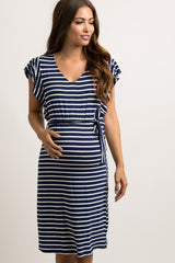 Navy Blue Striped Sash Tie Flounce Trim Dress