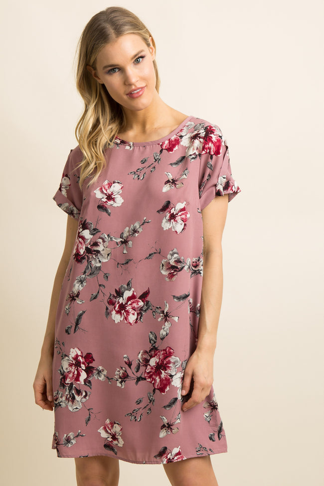 Pink Floral Cuffed Short Sleeve Maternity Shift Dress