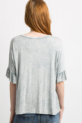 Blue Mineral Wash Ruffle Trim Dolman Sleeve Top