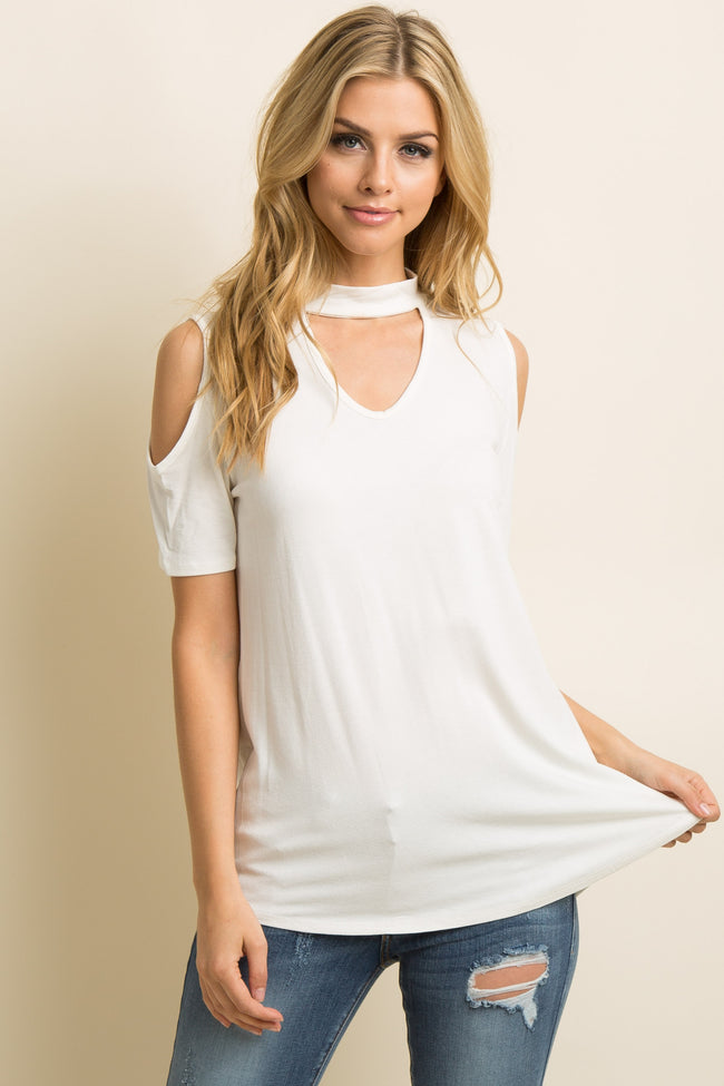Ivory Cutout Mock Neck Cold Shoulder Maternity Top