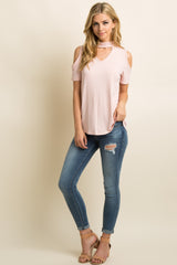 Pink Cutout Mock Neck Cold Shoulder Top