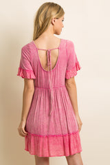 Fuchsia Faded Ruffle Trim Peplum Dress