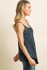 Navy Blue Faded Crochet Accent Cami Top