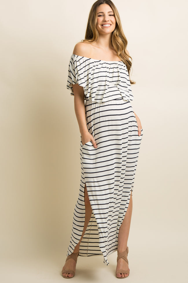 Ivory Striped Ruffle Off Shoulder Maternity Maxi Dress
