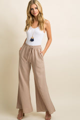 Taupe Smocked Drawstring Wide Leg Maternity Pants