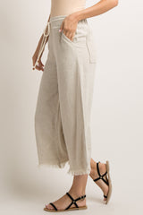 Beige Fringe Trim Cropped Linen Pants
