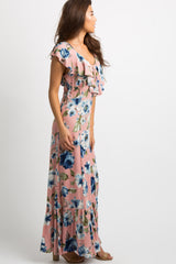 Pink Floral Lace-Up Back Ruffle Trim Maxi Dress