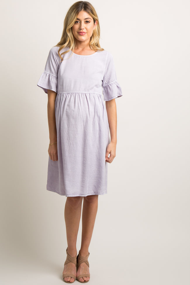 Lavender Faded Ruffle Trim Pleated Maternity Dress
