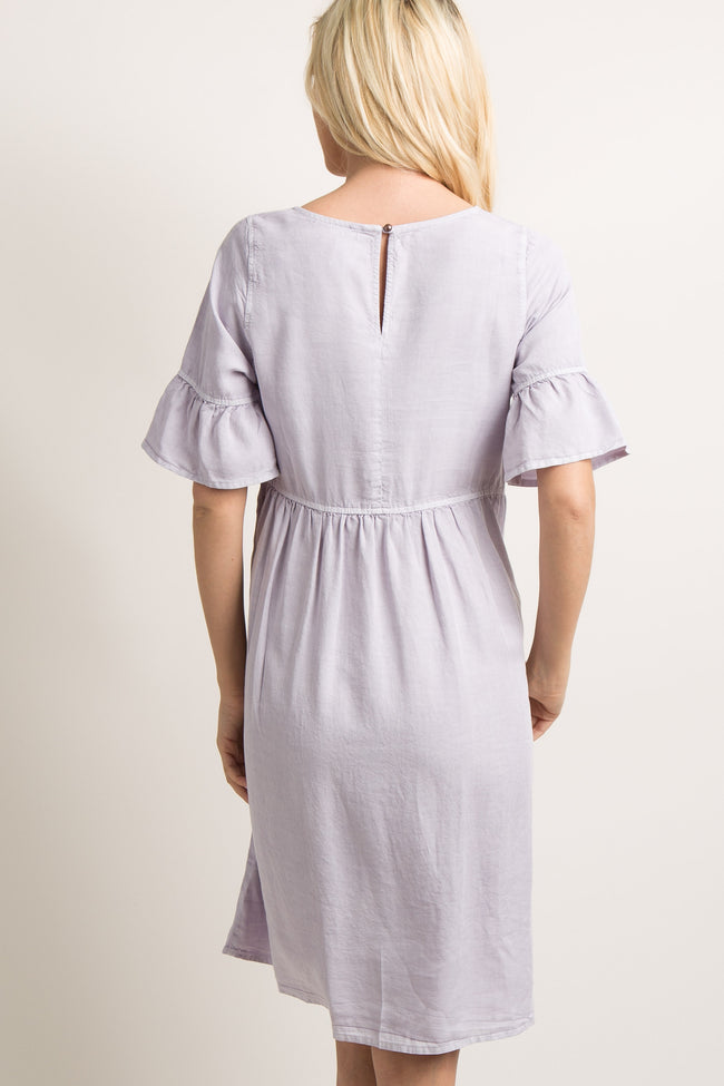 Lavender Faded Ruffle Trim Pleated Dress