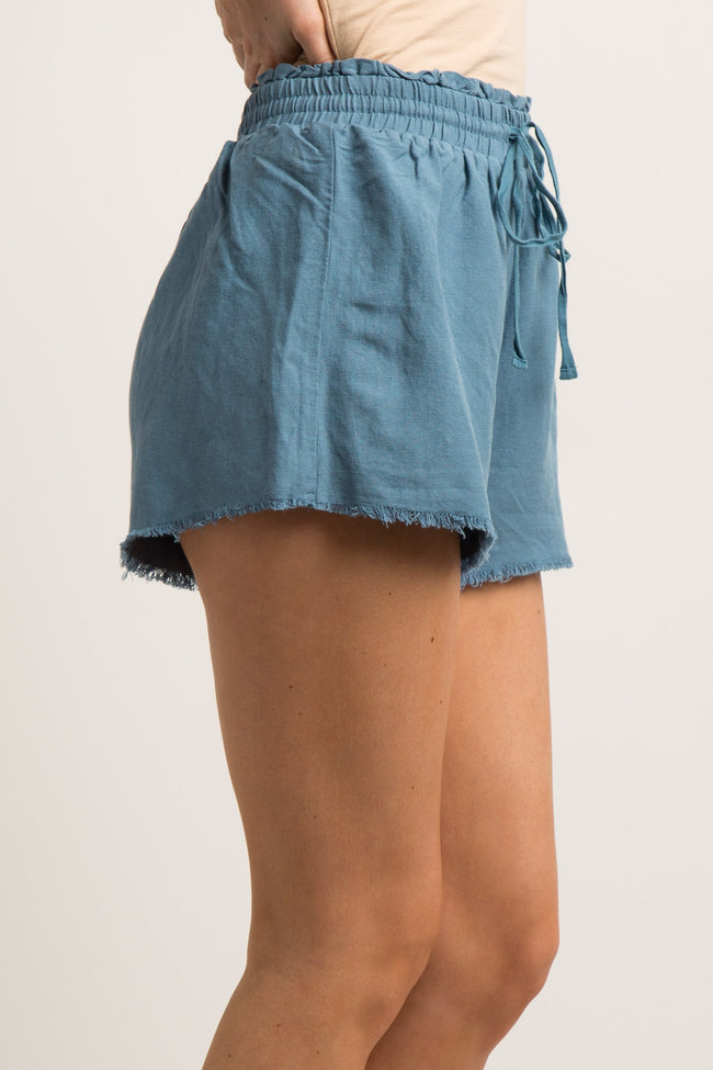 Blue Frayed Linen Drawstring Shorts