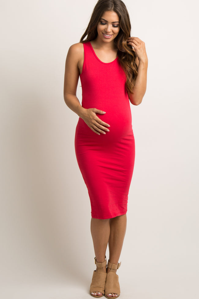 Red Solid Sleeveless Fitted Maternity Dress