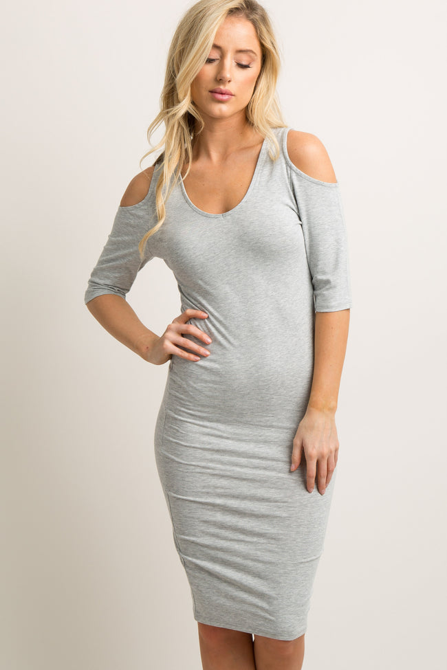 Heather Grey Solid Cold Shoulder Fitted Dress