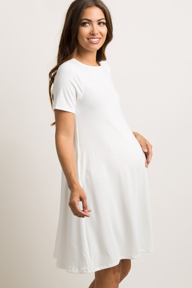 Ivory Solid Short Sleeve Maternity Swing Dress
