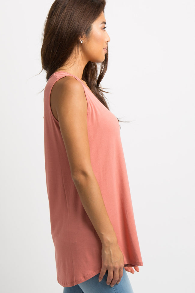 Coral Solid Tank Top