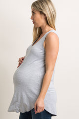 Heather Grey Solid Maternity Tank Top