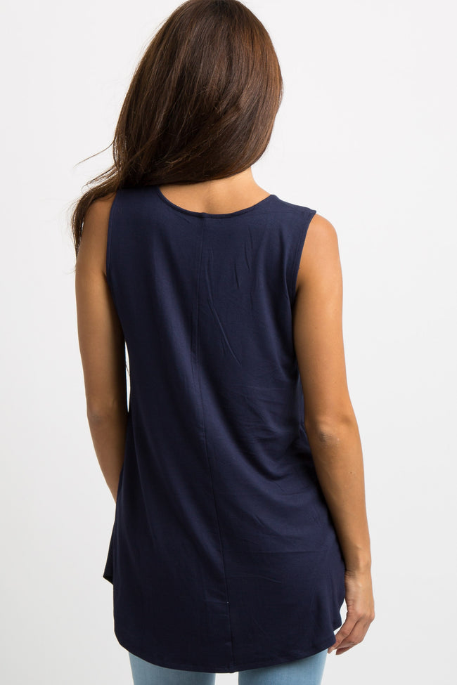 Navy Blue Solid Tank Top