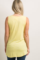 Yellow Solid Maternity Tank Top