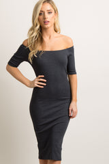 Charcoal Grey Ribbed Off Shoulder Fitted Maternity Dress